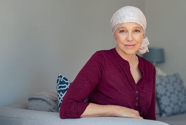 Image depicting a woman with cancer